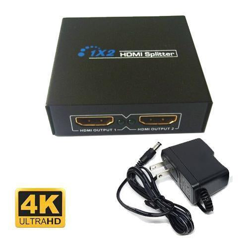 GlobalTone HDMI Splitter active 5v (1 input - 2 outputs) HDMI 3D 4K x 2K - 22-0006 - Mounts For Less