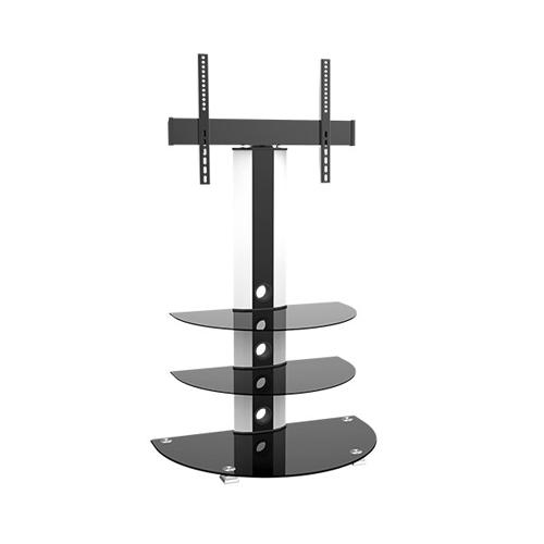 "GlobalTone Swivel TV stand with 3 shelves in tempered glass Black 32"" to 55"" - 12-0023 - Mounts For Less"
