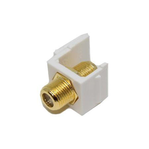 Keystone connector Coaxial F-Type RG-59/6 Gold Plated coupler F/F White - 88-0008 - Mounts For Less