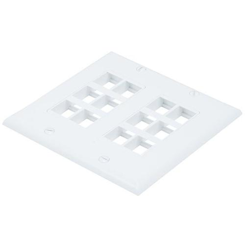 Keystone dual 2 gang wallplate white 2 x 6 bays (12 Total) - 88-0027 - Mounts For Less
