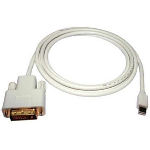 Mini DisplayPort Male cable to DVI-I Dual Link Male White 10ft - 79-0020 - Mounts For Less