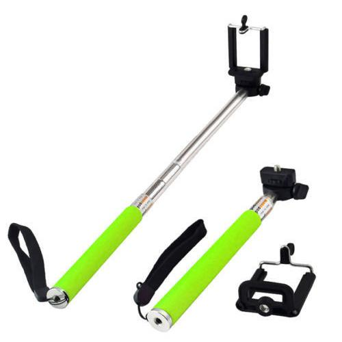 Monopod Selfie Stick Extendable Camera Holder +Phone Mount Green - 60-0103 - Mounts For Less