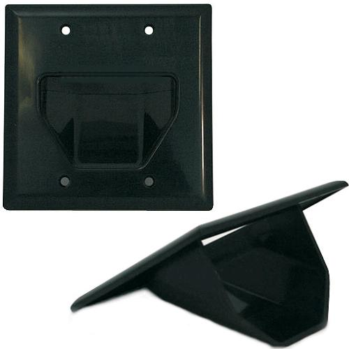 Pass-thru Wallplate for any cables DOUBLE black INT - 05-0046 - Mounts For Less