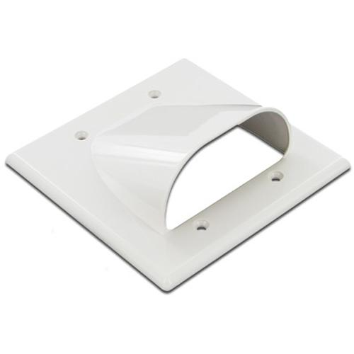 Pass-thru Wallplate for any cables DOUBLE white EXT - 05-0048 - Mounts For Less