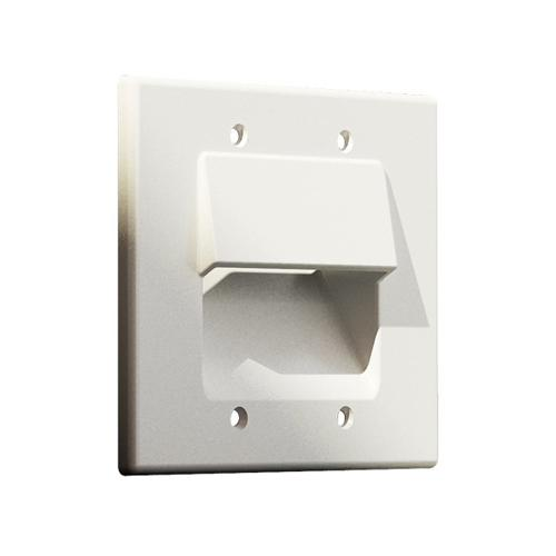 Pass-thru Wallplate for any cables DOUBLE white GT - 05-0086 - Mounts For Less