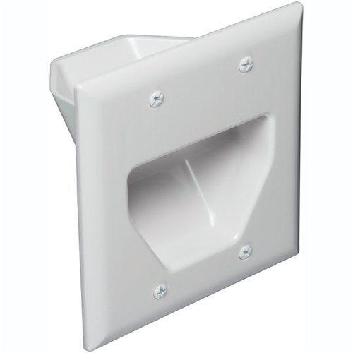 Pass-thru Wallplate for any cables DOUBLE white INT - 05-0018 - Mounts For Less