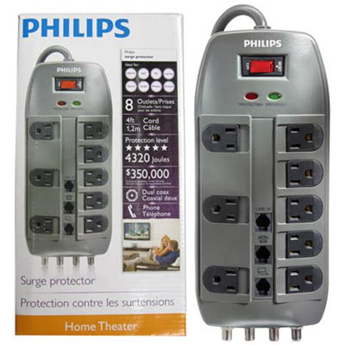 Philips Surge Protectors 8 outlets 4320 Joules 4ft - 06-0061 - Mounts For Less