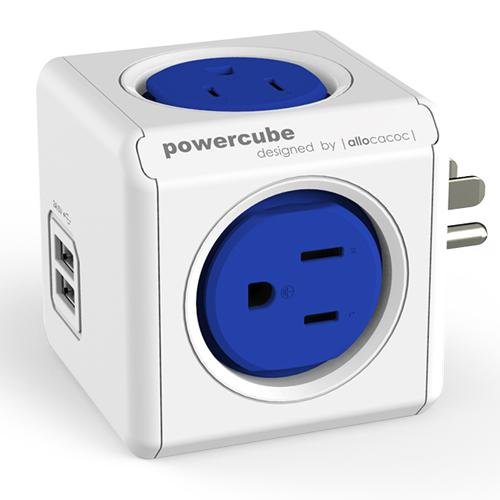 Powercube on Wall Original 4 outlets + 2 USB Ports - Blue - 06-0092 - Mounts For Less