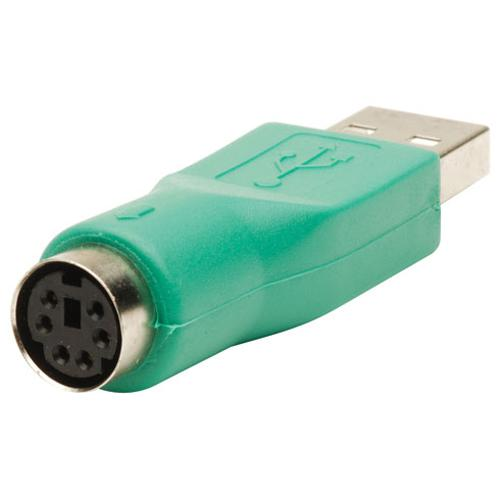 PS/2 Female Mouse to USB A male adapter Green - 99-0087 - Mounts For Less
