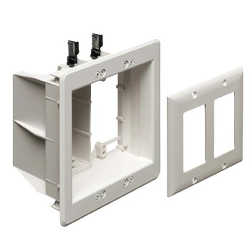 Recessed Double Box for cables and power outlets TVBU White - 05-0133 - Mounts For Less