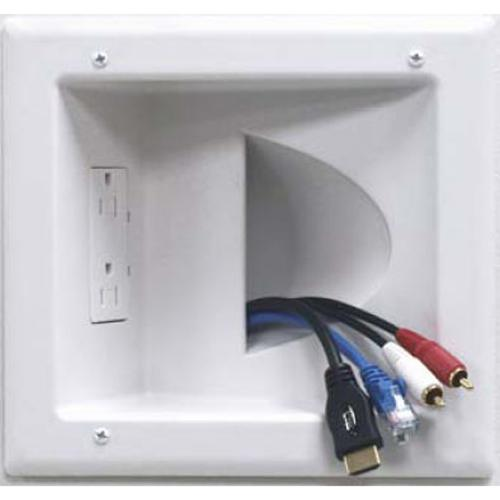 Recessed Low Voltage Media Plate with Duplex Receptacle - White - 05-0042 - Mounts For Less