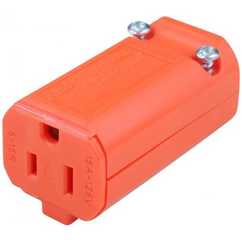 Socket for Power Cord nema 5-15P 125vac 15A 16-14awg SJT Orange - 06-0096 - Mounts For Less