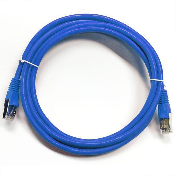 TechCraft Ethernet cable network Cat5e RJ-45 shielded 100 ft Blue - 89-0218 - Mounts For Less