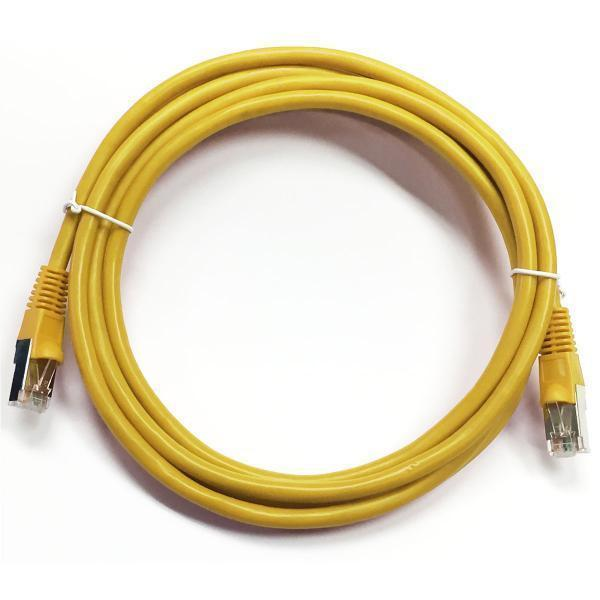 TechCraft Ethernet cable network Cat5e RJ-45 shielded 25 ft Yellow - 89-0196 - Mounts For Less