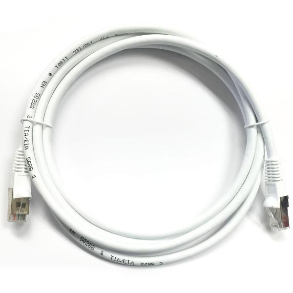 TechCraft Ethernet cable network Cat5e RJ-45 shielded 50 ft White - 89-0208 - Mounts For Less
