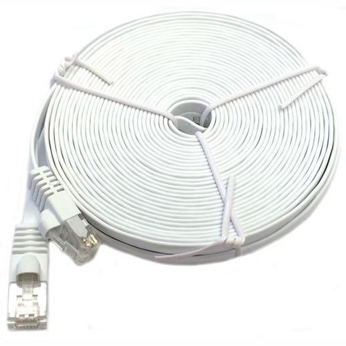 TechCraft Ethernet FLAT cable network Cat6 RJ-45 15ft White - 89-0316 - Mounts For Less