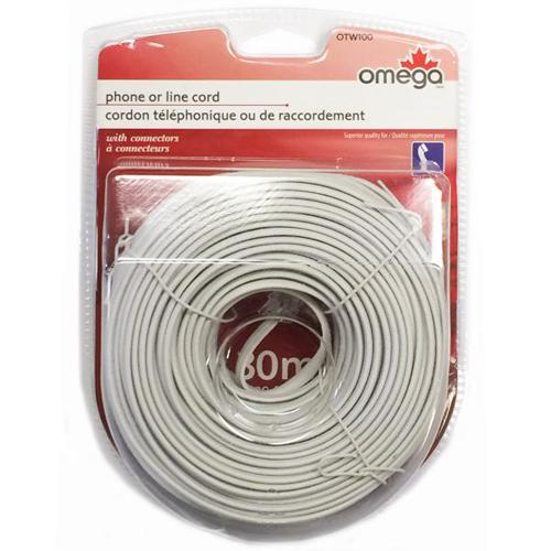 Telephone Cord 4 conductors M/M flat 100ft White - 89-0244 - Mounts For Less