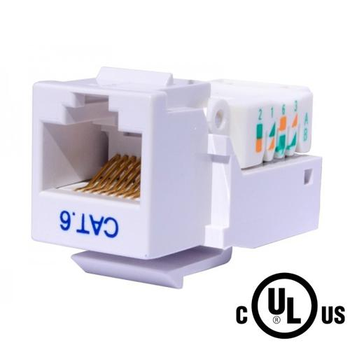 Toolless Keystone connector Cat6 RJ-45 Female White - 88-0039 - Mounts For Less
