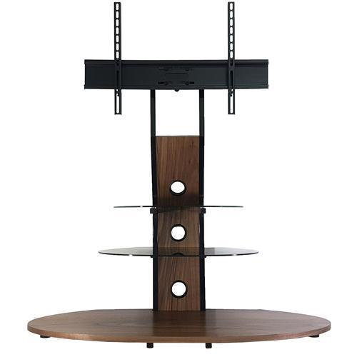 Tv Stand Glass And Wood 3 Shelves Swivel Mount For 32 To 55 Screen