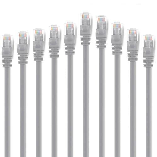 Value Pack of 10x Ethernet Network Cables Cat6 500MHz RJ-45 1ft Gray - 89-0329x10 - Mounts For Less