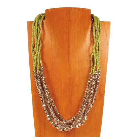20 inch Beaded Multi Strand Apple Green Roxie Handmade Necklace