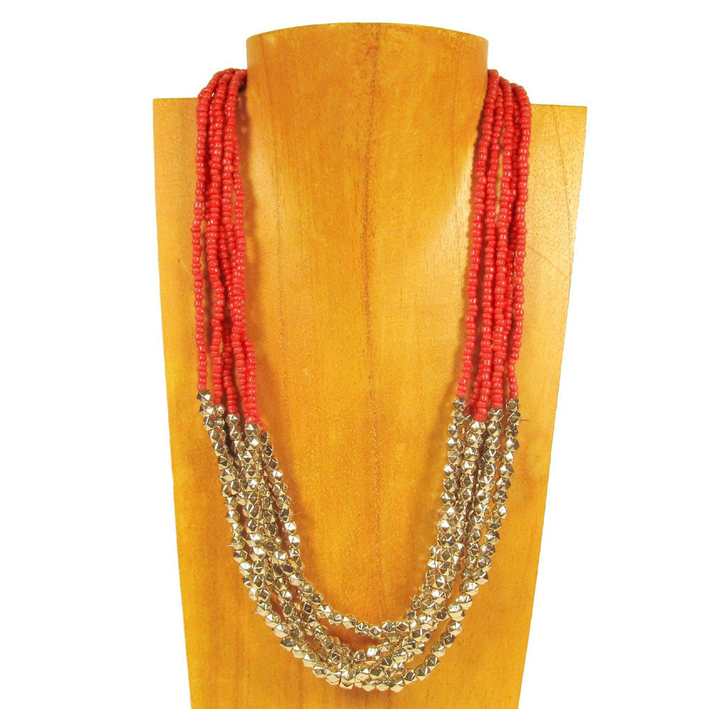 20 inch Beaded Multi Strand Red Roxie Handmade Necklace