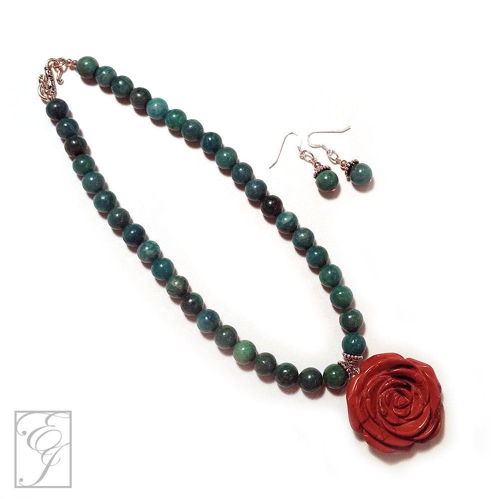 African Amazonite Red Jasper Sterling Silver Necklace Set