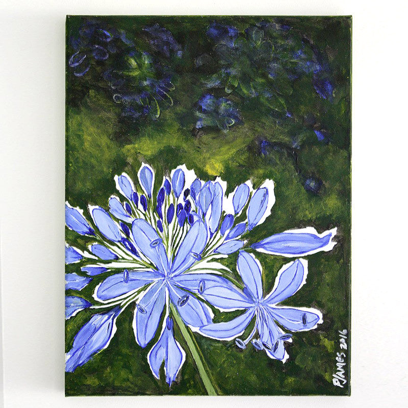 "Agapanthus 12"" x 16"" Acrylic on stretched canvas"