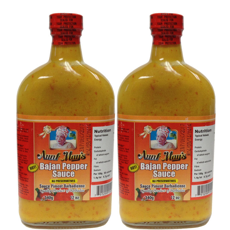 Aunt May's Bajan Pepper Sauce 12oz 2-PACK