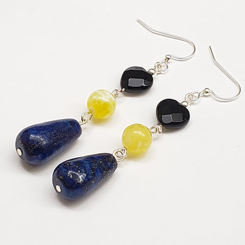 Barbados-Inspired Lapiz Lazuli Yellow Quartz and Onyx Heart Earrings with Silver Tone Findings
