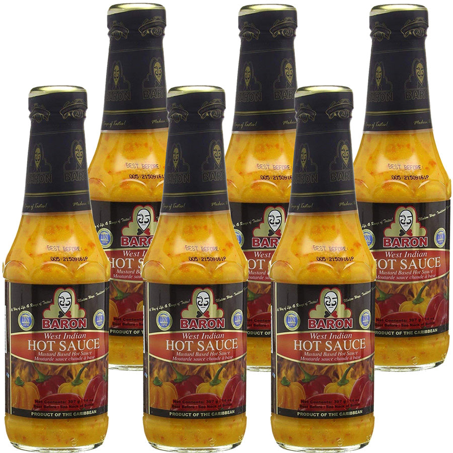 Baron West Indian Hot Sauce 14oz (Pack of 6)