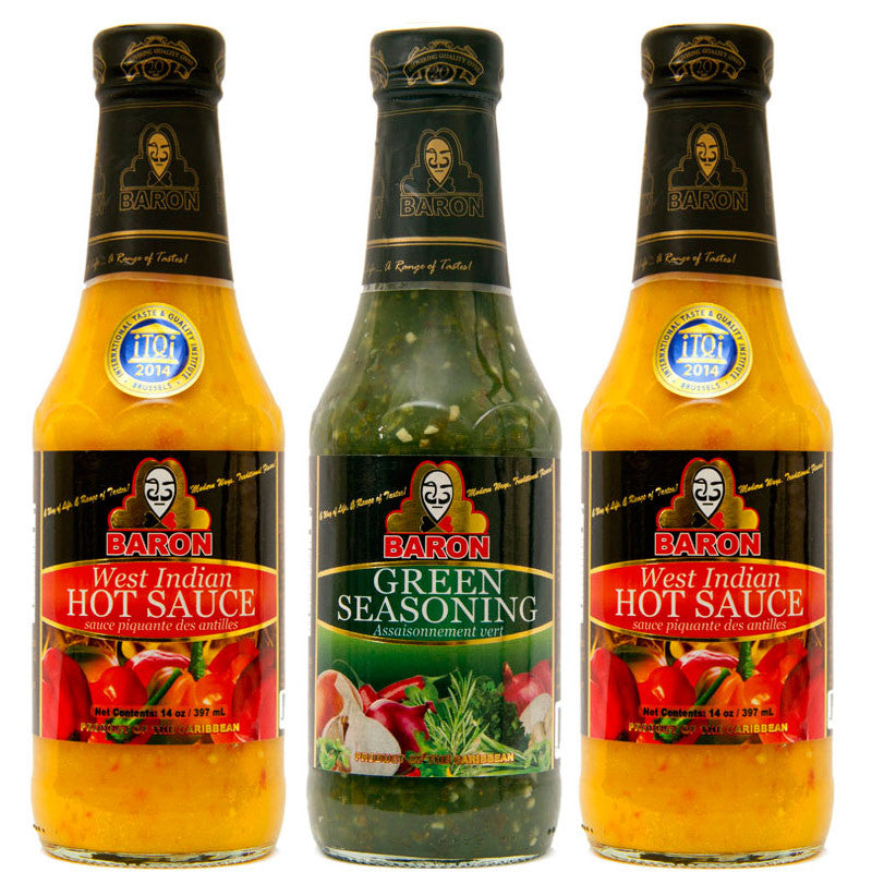 Baron West Indian Hot Sauce and Green Seasoning 14oz 3-Pack Combo