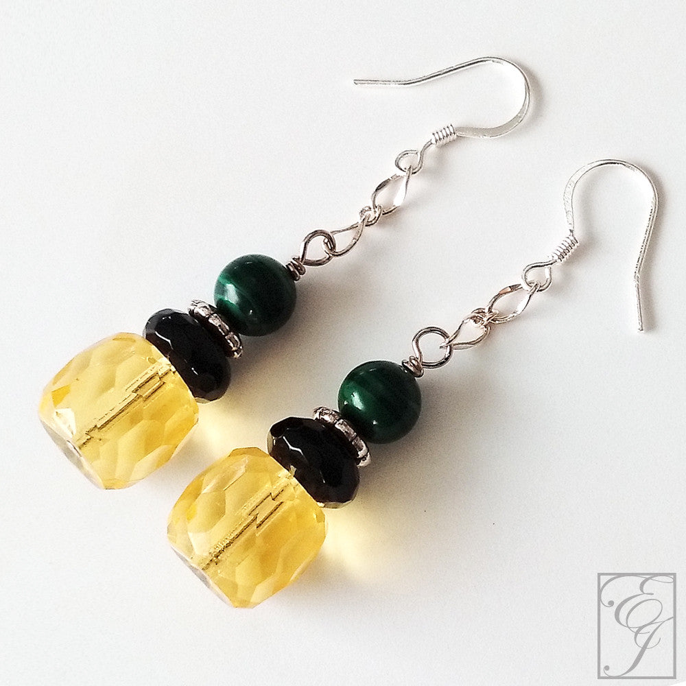 Black Green and Yellow Jamaican Drop Earrings 2