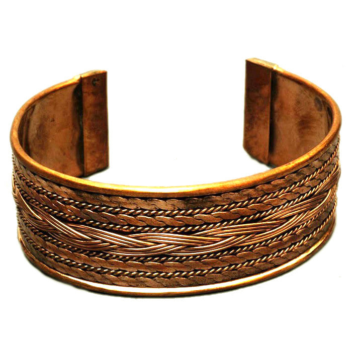 Braided Copper Cuff Bracelet 1 inch