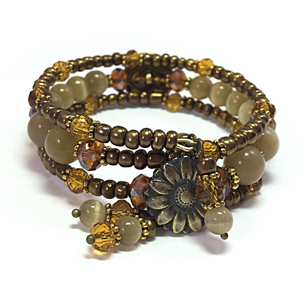 Bronze Earthtone Bohemian Button Wrap Bracelet