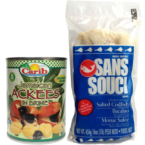Carib Jamaican Ackees 19oz and Sans Souci Saltfish 16oz (Pack of 2)
