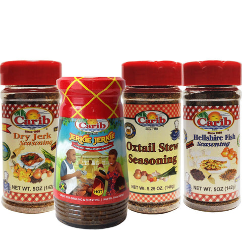 Carib Jamaican Jerk Oxtail and Hellshire Fish Seasoning Variety 4-Pack