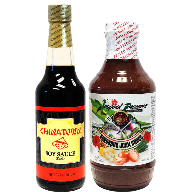 Chinatown Soy Sauce 10oz and Tropical Treasures Barbeque Jerk Sauce 16oz Healthy Jamaican Sauces Combo
