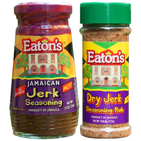 Eaton's Jamaican HOT Jerk Seasoning 11oz and HOT DRY Jerk Seasoning Rub 3.7oz