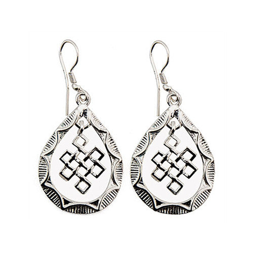 Endless Knot White Metal Earrings 1inch L