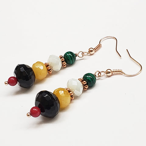 Guyana-Inspired Faceted Black Onyx Red Coral Malachite Quartz and Crystal Earrings with Rose Gold Findings