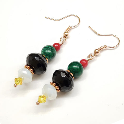 Guyana-Inspired Faceted Black Onyx Red Coral Malachite and Crystal Earrings with Rose Gold Findings