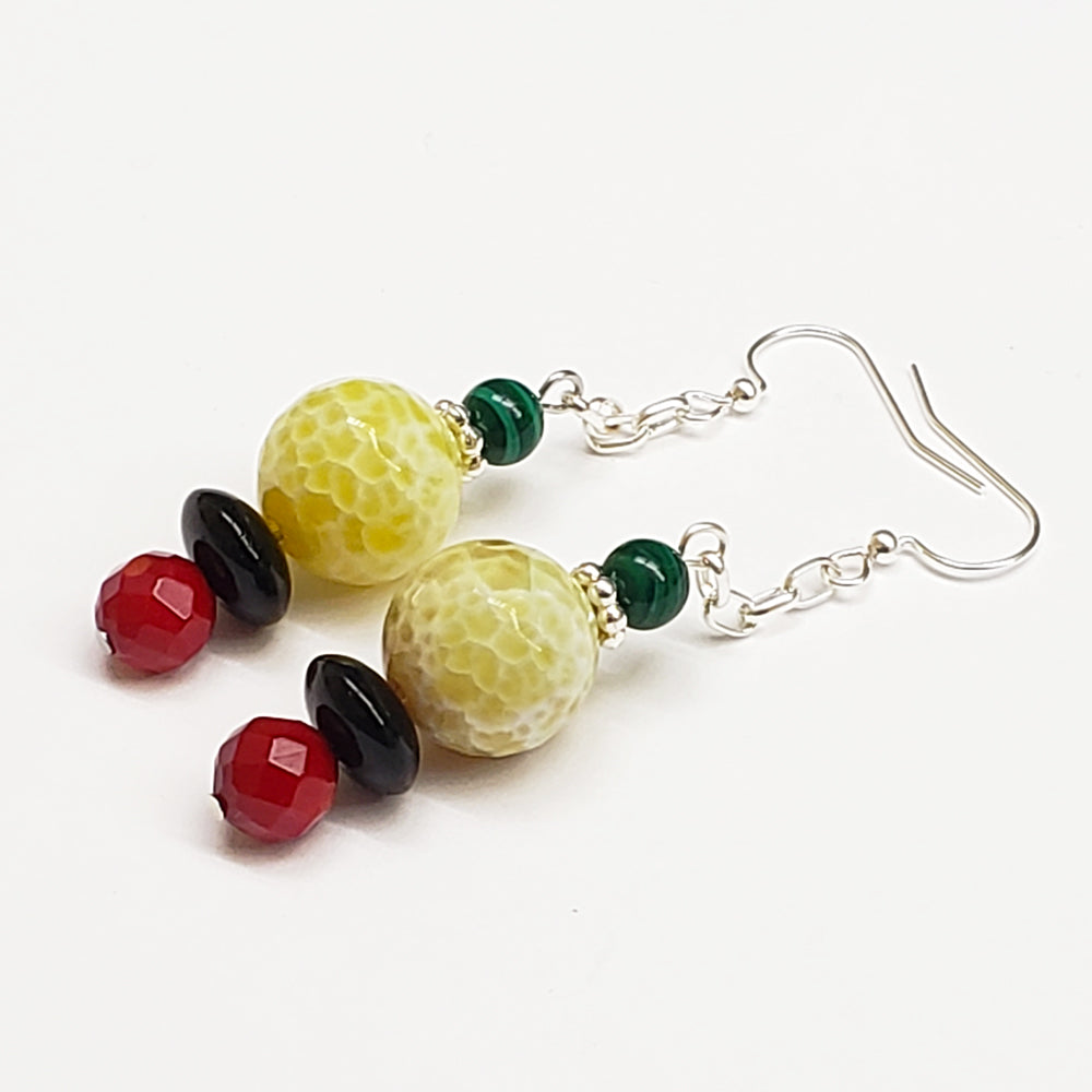 Guyana-Inspired Red Coral Yellow and White Quartz Malachite Earrings with silver tone findings