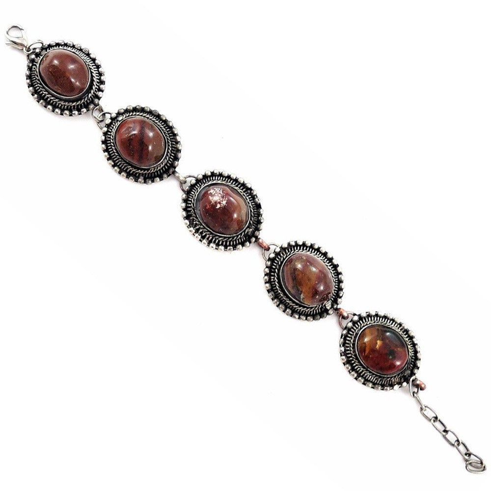 Handmade Tibetan Boho antique silver tone bracelet with natural agate beads