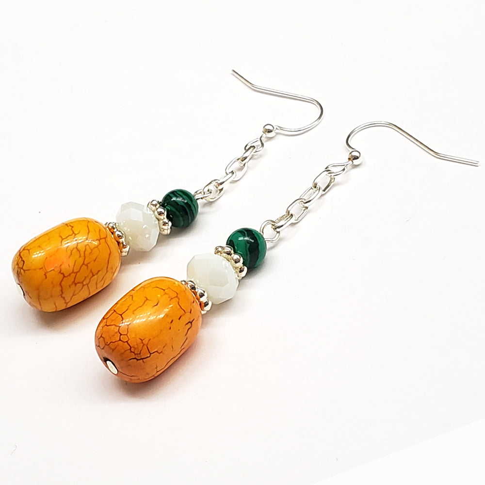 India-Inspired Yellow Howlite Malachite glass Earrings with Silver Tone Findings