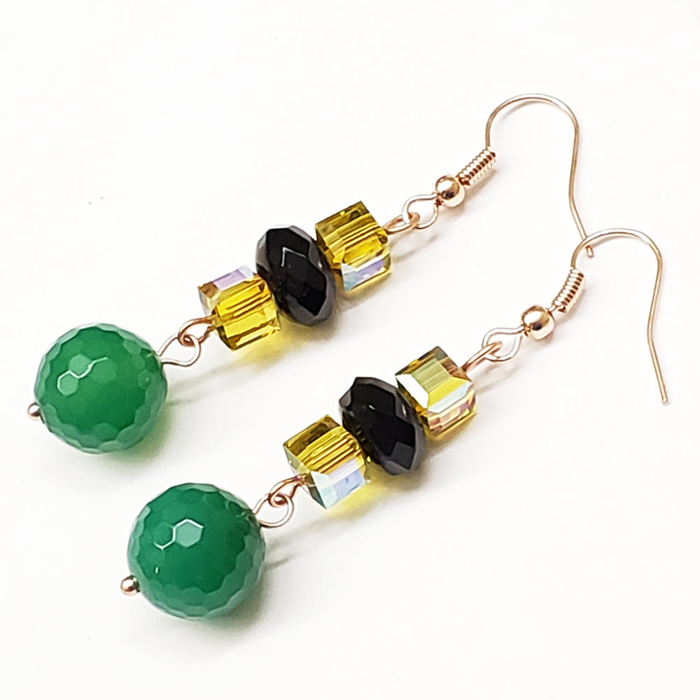 Jamaica-Inspired Faceted Green Aventurine Black Onyx Yellow Swarovski Crystals and rose gold findings by EpifanyJewelry