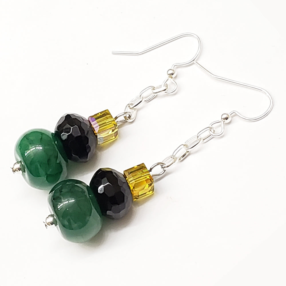 Jamaica-Inspired Green Agate Black Onyx Swarovski Crystals and silver tone findings by EpifanyJewelry