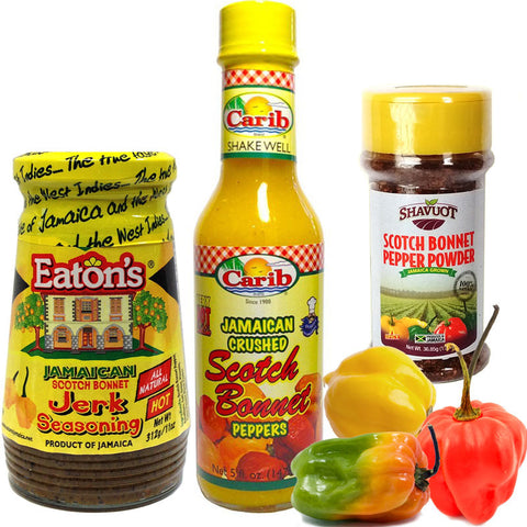 Jamaican SCOTCH BONNET PEPPER Jerk Seasoning and Pepper Powder Variety 3-Pack