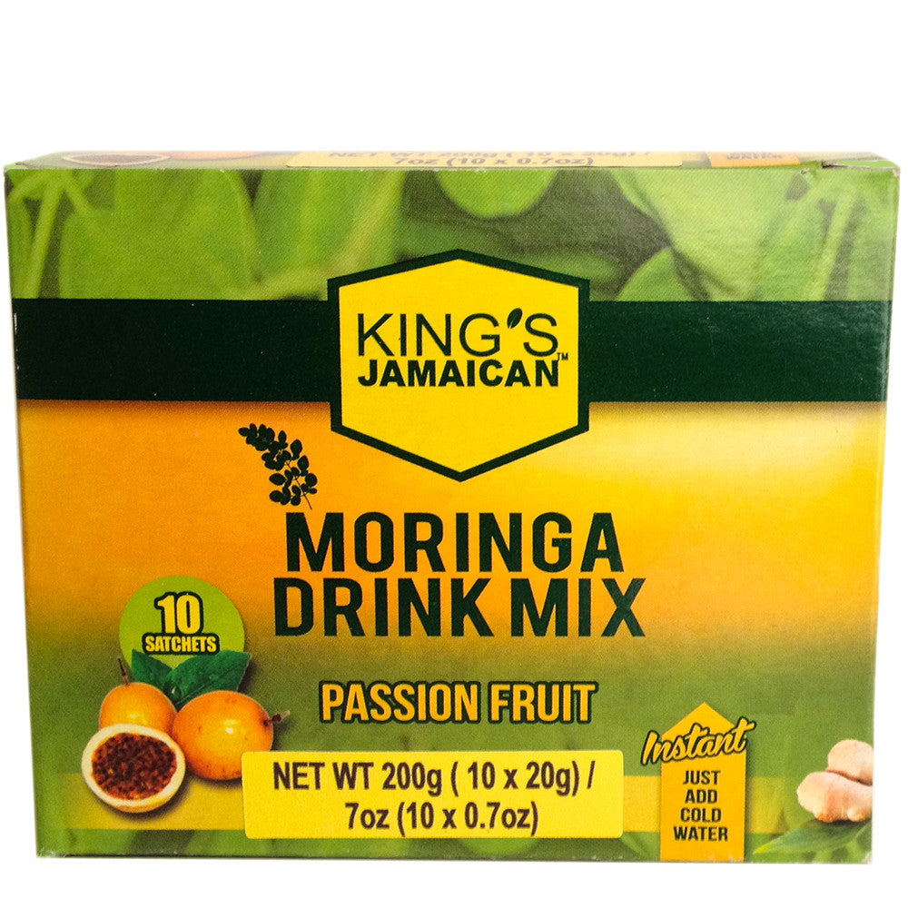 King's Jamaican Moringa Drink Mix with Passion Fruit 7oz (10 sachets)