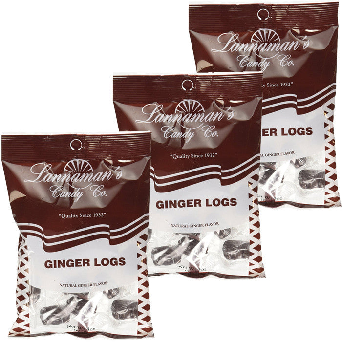 Lannaman's Ginger Log Candy 4oz 3-PACK